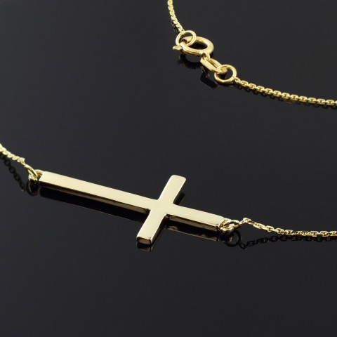 Sideways cross pendant necklace in 9ct gold gold boutique sideways cross pendant necklace in 9ct gold aloadofball Choice Image